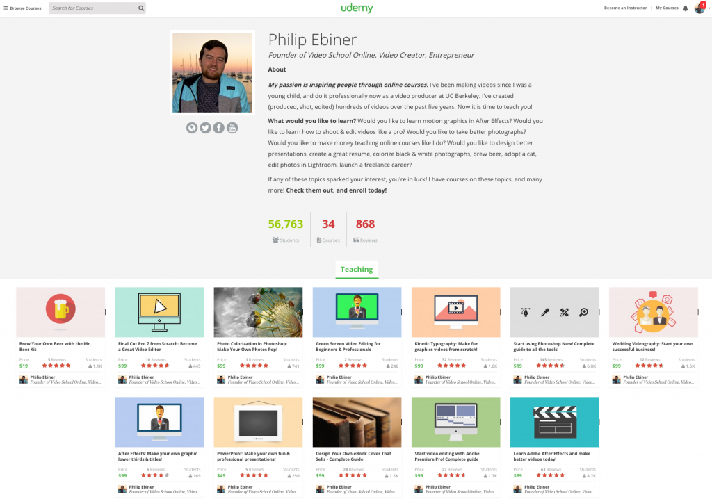 Udemy Profile Page