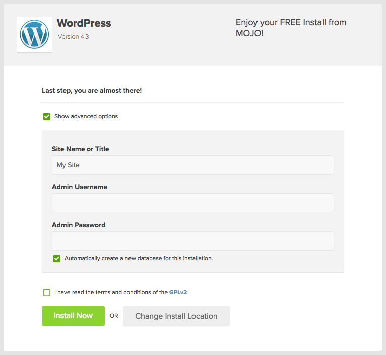 enter wordpress user information