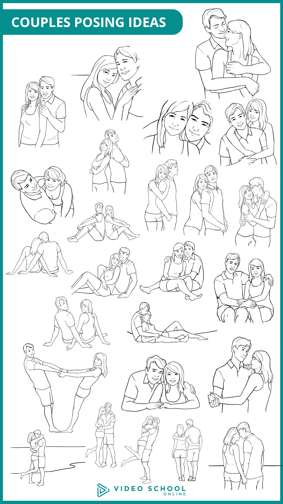 Posing Couples: 25 Sample Poses for Couples Photography - Video